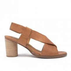 Regarde le Ciel Colly 11 Leather Medium Block Sandals - Tan