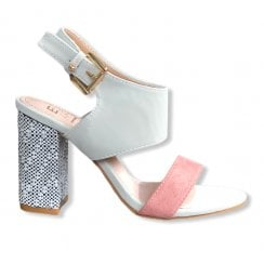 Escape Vermont High Heel Sandal With Patterned Block Heel - Ice