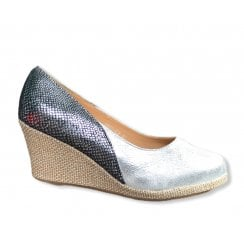 Redz Silver Snake Print Wedge - Silver and Black