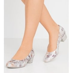Marco Tozzi Low Heel Court - Silver Floral