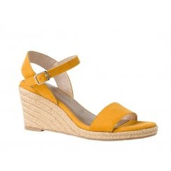 Tamaris Womens Yellow Mustard Wedge High Heeled Ankle Strap Sandals