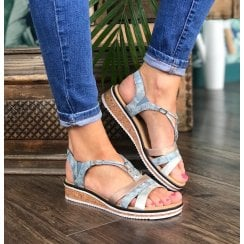 Rieker Ladies Low Wedge Blue Sandals