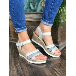 Rieker Ladies Wedge Heel Velcro Strap White Blue Sandals