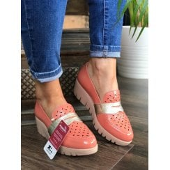 Wonders Womens Salmon Patent Slip On Wedged Shoes - C-33208