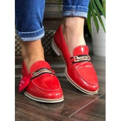 Ara Womens Kent Red Leather Loafer Slip On Shoes
