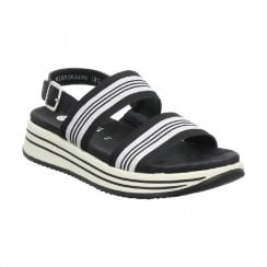 Remonte R295002 Ladies Low Wedge Elasticated Straps Sandals - Black White