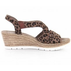 Rieker Ladies Wedge High Heel Slingback Strap Brown Sandals