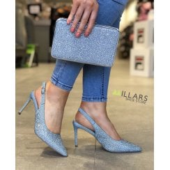 Menbur Blue Diamonte Pointed Slingback Court