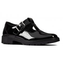 Clarks Girls Loxham Shine - Black Patent