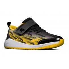 Clarks Aeon Pace Boys Trainer - Black/Yellow