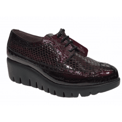 Wonders Wine Patent Snake Lace Up Wedge