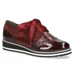Caprice Low Wedge Ribbon Lace Brogue Shoe - Wine