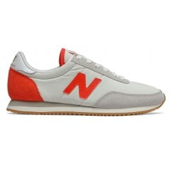 New Balance 720 Womens Retro Suede Nylon Sneakers - Off White/Neon Red