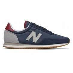 New Balance 720 Womens Retro Suede Nylon Sneakers - Navy/Red