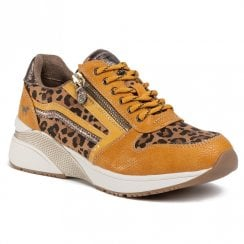 Mustang Womens Mustard Leopard Wedge Trainer