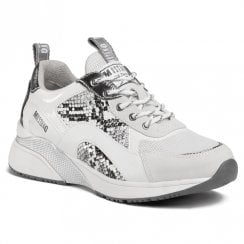 Mustang Womens White Snake Low Wedge Trainer