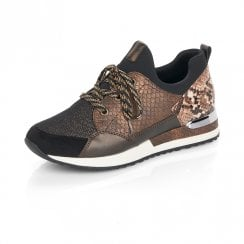 Remonte R2503 Ladies Lace Up Sneakers Shoes - Black/Brown