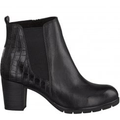 Marco Tozzi Croc Ankle Boot - Black