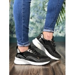 Mustang Black Chunky Lace Up Trainer