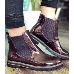Marco Tozzi Chunky Pull On Chelsea Boot - Bordo Patent