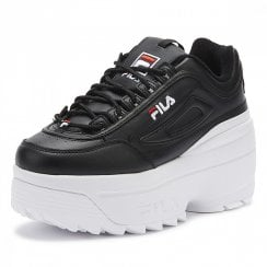 Fila Disruptor 2 Wedge Platform Trainers In Black