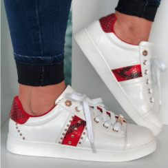 Lloyd & Pryce Womens White/Red Snake Trainers - O Connor