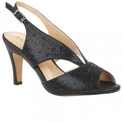 Lotus Dazzle Womens Slingback Peep Toe Court Shoes - Black