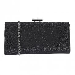 Lotus Womens Black Diamante Chandra Occasion Clutch Bag