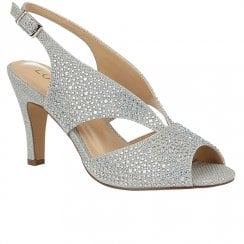 Lotus Dazzle Womens Slingback Peep Toe Court Shoes - Silver