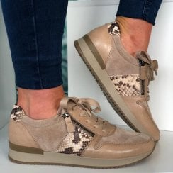Gabor Nude with Snake Lace Up Trainer With Side Zip