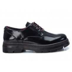 XTI Black High Shine Lace Up With Wine Stitching