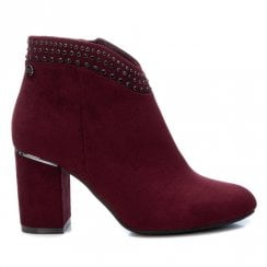 XTI Burgundy Ankle Boot With Diamante Trim