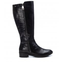 XTI Black Croc Flat Knee High Boot