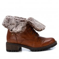 XTI Lace Up Ankle Boot With Turn Down Fur - Tan