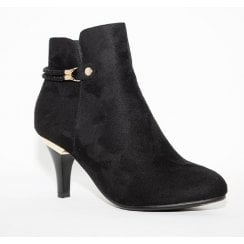 Susst Donna Black Faux Suede Ankle Boot