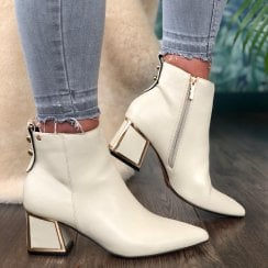 Una Healy Blue Hawall Ivory Ankle Boot