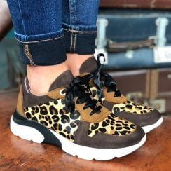 Daniela Leopard Faux Pony Hair Trainers