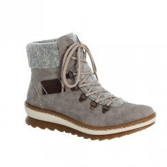 Rieker Ladies Grey Lace Up Ankle Boot
