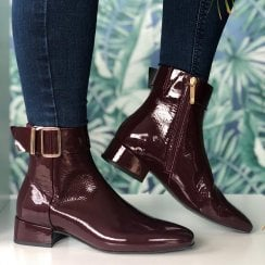 Tommy Hilfiger Burgandy Patent Square Toe Mid Heel Boot