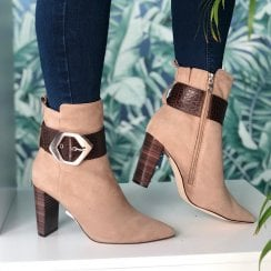 Caprice Taupe/Brown Heeled Ankle Boots