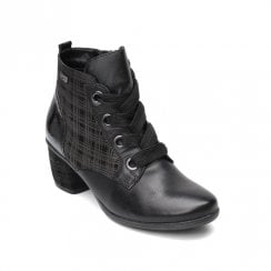Remonte Ladies Black Zipper and Laces Mid Heel Ankle Boots