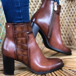 Escape Ladies Derna One Caramel Heeled Ankle Boots