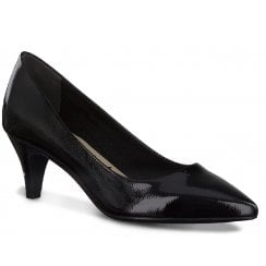 Tamaris Ladies Black Patent Pointed Court Shoes