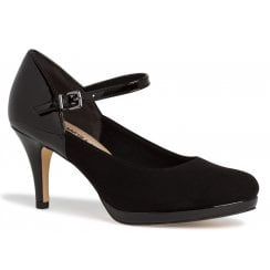 Tamaris Ladies Black Court Shoes With Ankle Strap