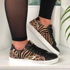 Lunar Ladies Charlize Black/Leopard Lace Up Trainers