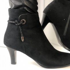 Redz Ladies Black Suede Heel Ankle Boots