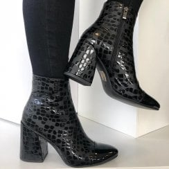 Hannah B Ladies Black Croc Heeled Ankle Boots