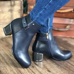 Redz Ladies Navy Heeled Ankle Boots