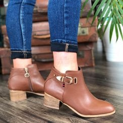 Escape Ladies Nephi Tan Heeled Ankle Boot