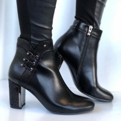 Redz Ladies Black Heeled Ankle Boots
